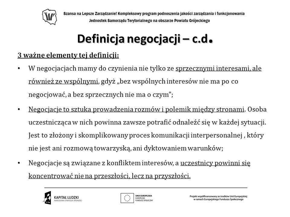 Definicja negocjacji – c.d.