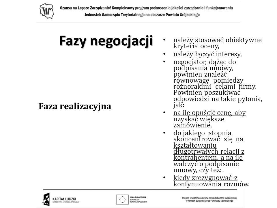 Fazy negocjacji Faza realizacyjna