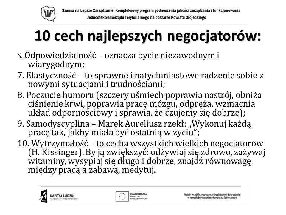 10 cech najlepszych negocjatorów: