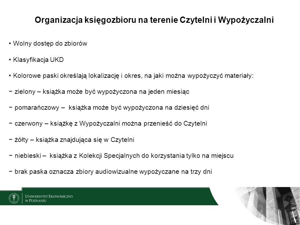 Organizacja księgozbioru na terenie Czytelni i Wypożyczalni