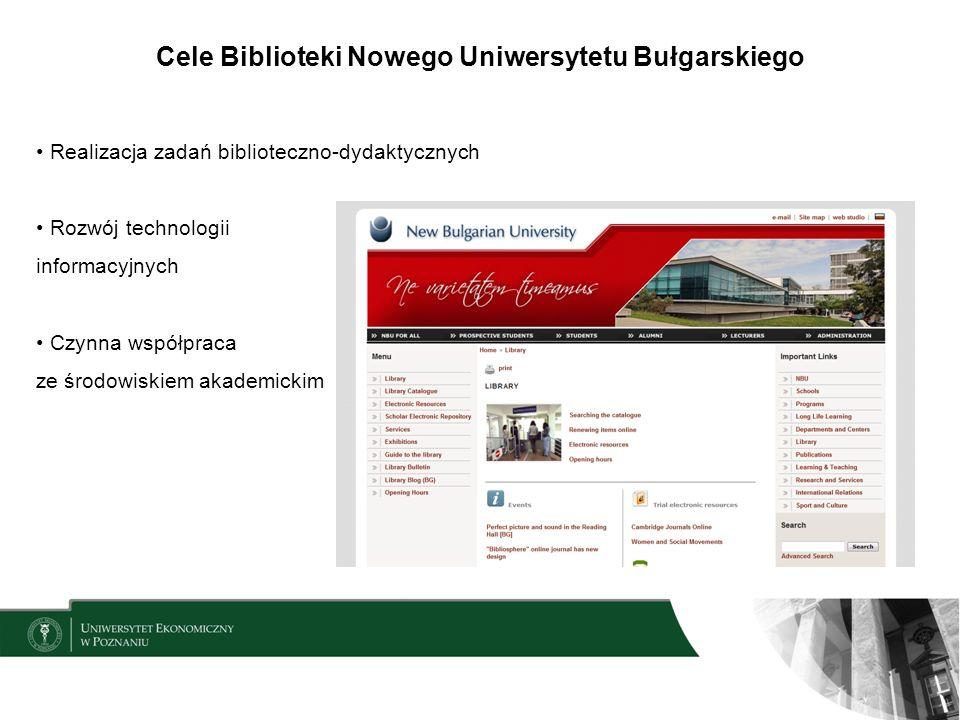 Cele Biblioteki Nowego Uniwersytetu Bułgarskiego