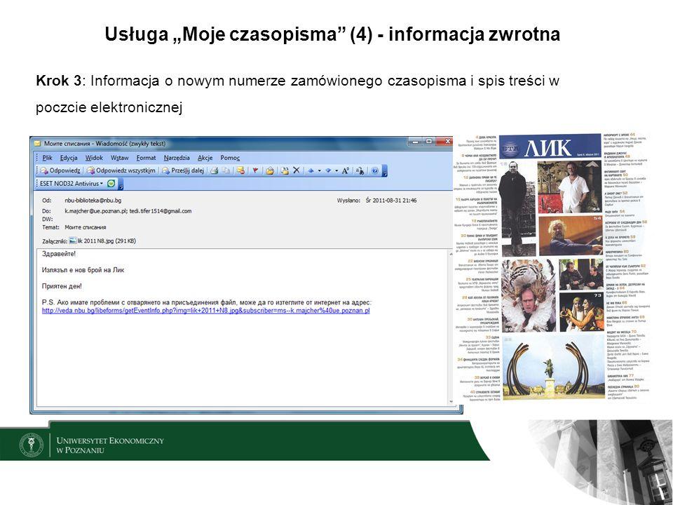 """Usługa """"Moje czasopisma (4) - informacja zwrotna"""