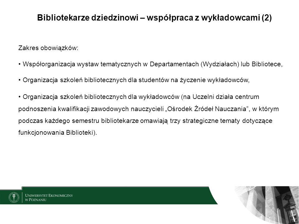 Bibliotekarze dziedzinowi – współpraca z wykładowcami (2)