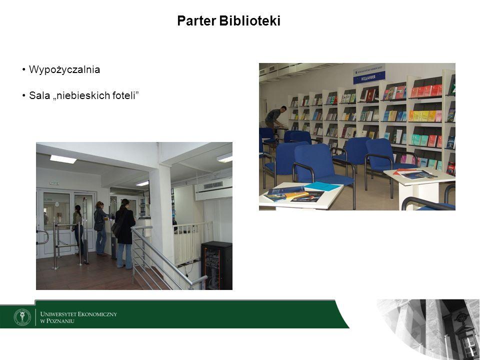 """Parter Biblioteki Wypożyczalnia Sala """"niebieskich foteli"""