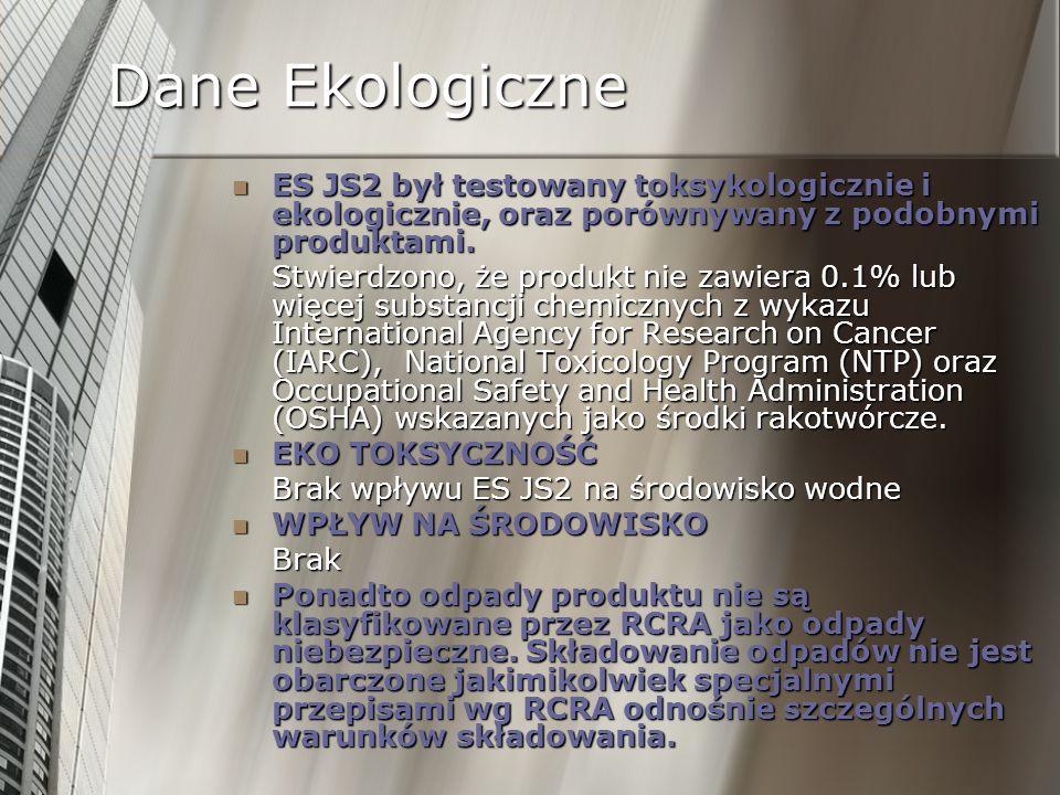 Dane Ekologiczne ES JS2 był testowany toksykologicznie i ekologicznie, oraz porównywany z podobnymi produktami.