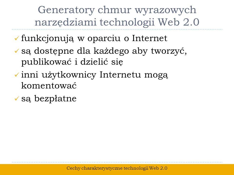 Generatory chmur wyrazowych narzędziami technologii Web 2.0