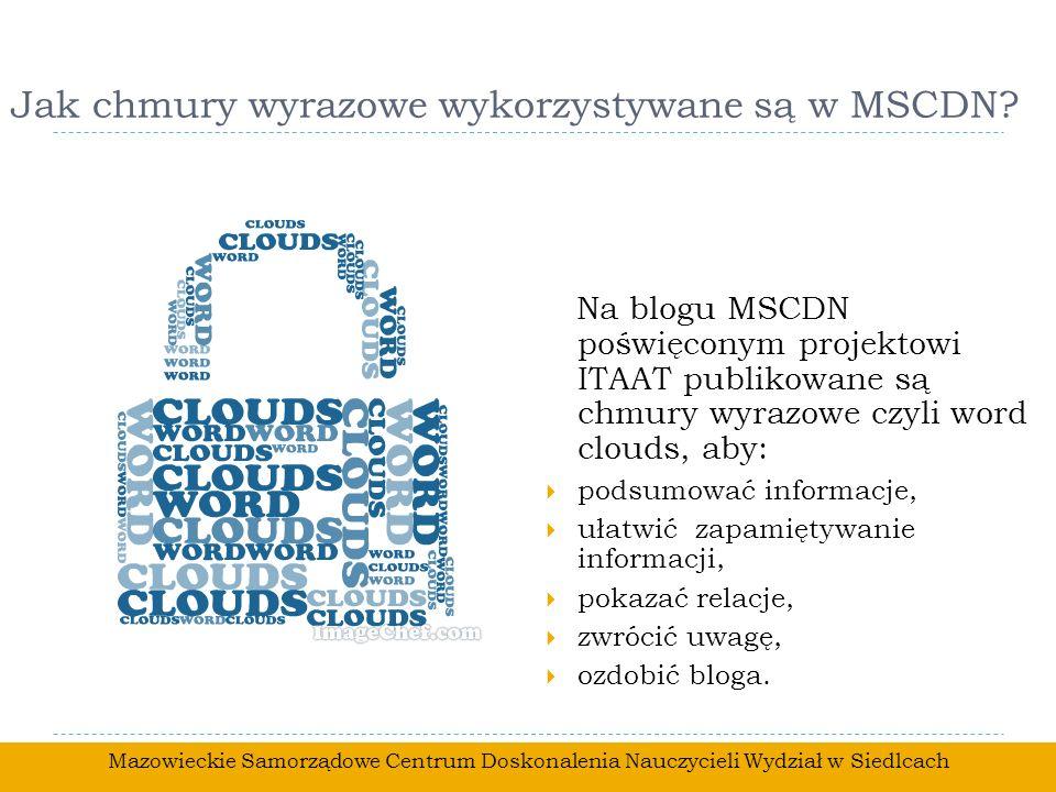 Jak chmury wyrazowe wykorzystywane są w MSCDN