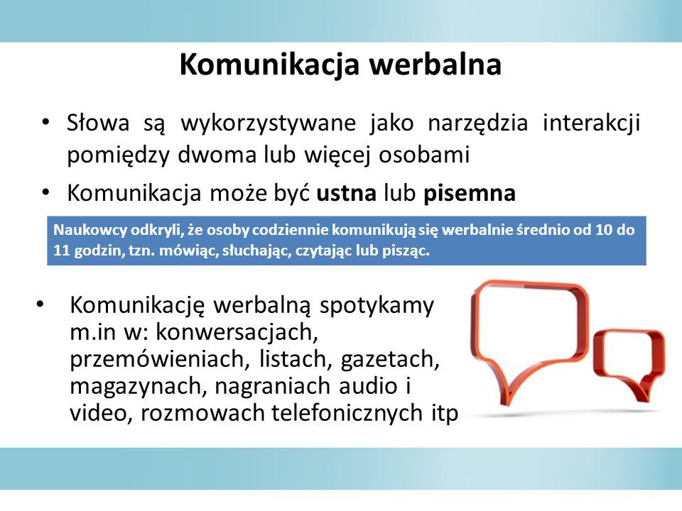 Komunikacja werbalnaSłowa są wykorzystywane jako narzędzia interakcji pomiędzy dwoma lub więcej osobami.
