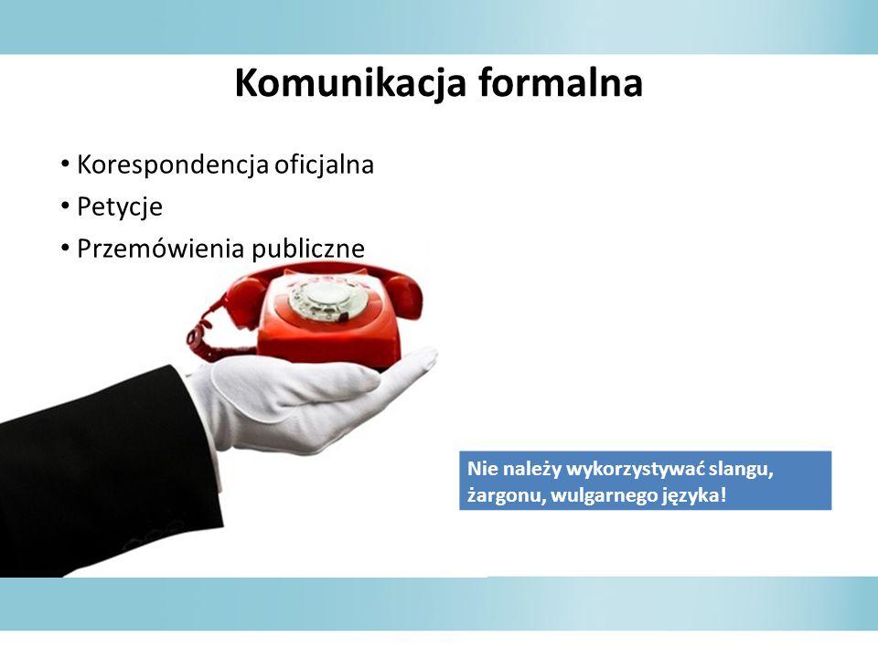 Komunikacja formalna Korespondencja oficjalna Petycje