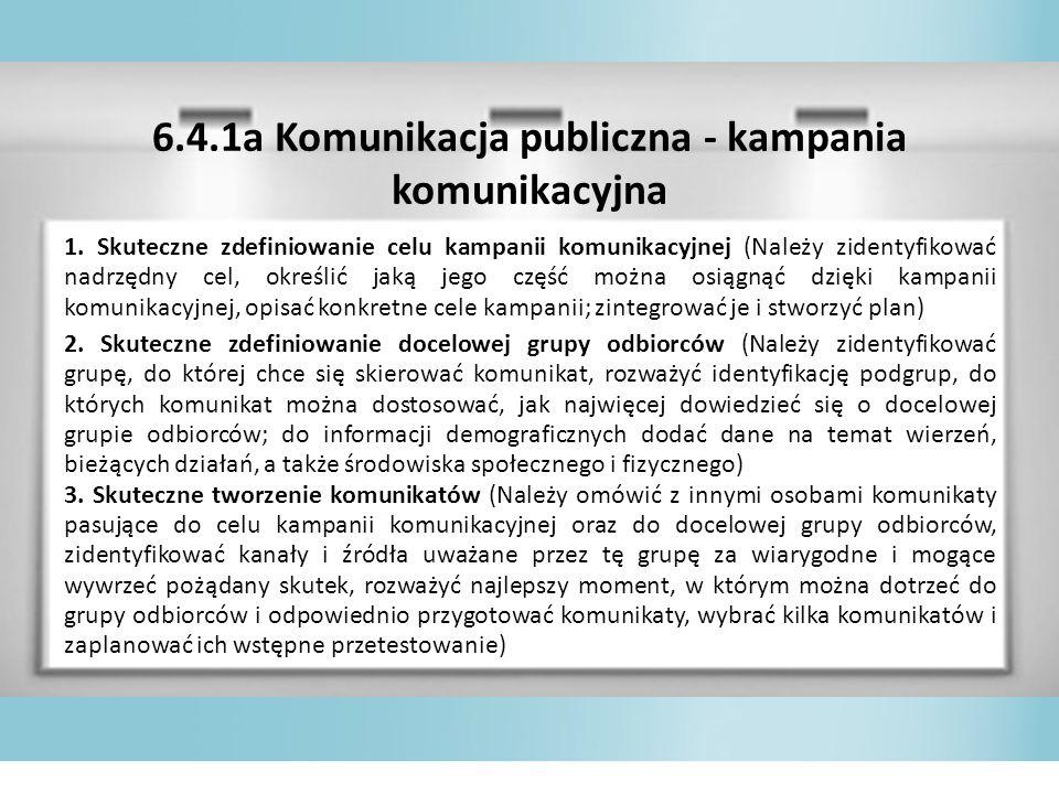 6.4.1a Komunikacja publiczna - kampania komunikacyjna