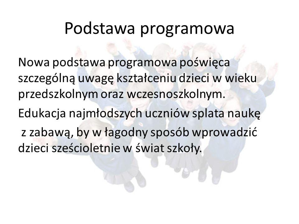 Podstawa programowa Nowa podstawa programowa poświęca szczególną uwagę kształceniu dzieci w wieku przedszkolnym oraz wczesnoszkolnym.