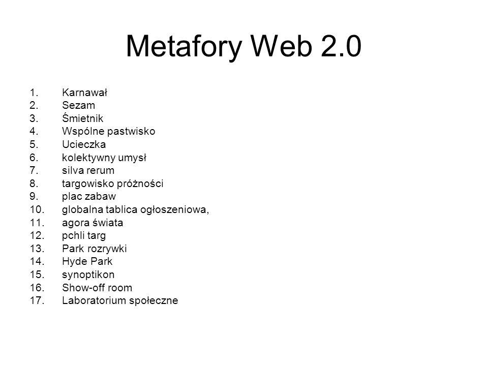 Metafory Web 2.0 Karnawał Sezam Śmietnik Wspólne pastwisko Ucieczka