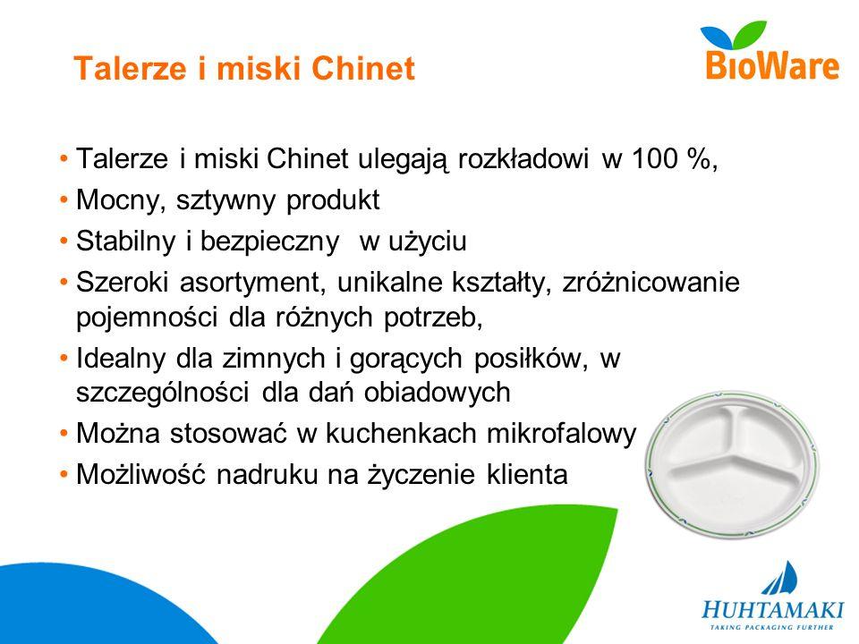 Talerze i miski ChinetTalerze i miski Chinet ulegają rozkładowi w 100 %, Mocny, sztywny produkt. Stabilny i bezpieczny w użyciu.