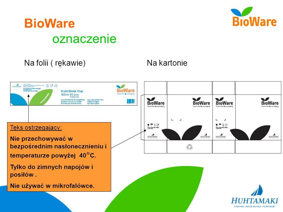 BioWare oznaczenie Na folii ( rękawie) Na kartonie Teks ostrzegający:
