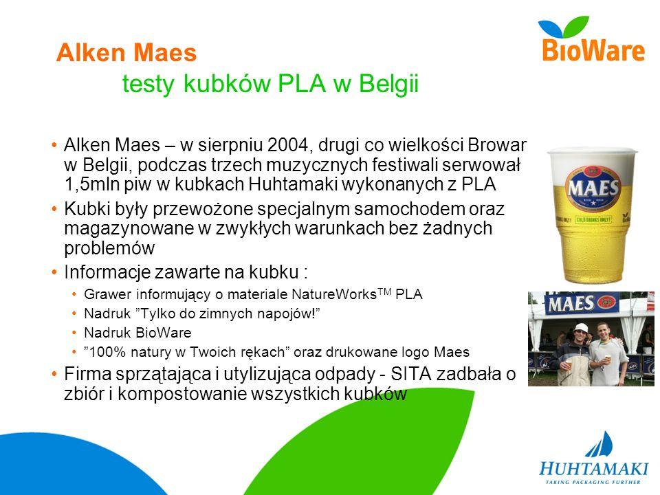 Alken Maes testy kubków PLA w Belgii