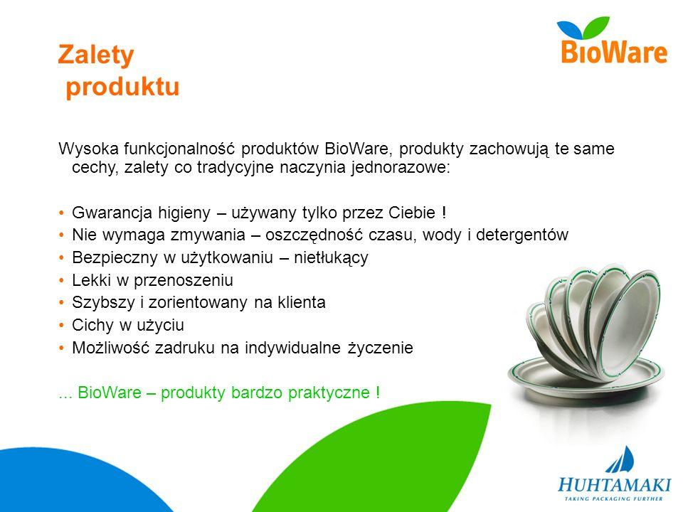 Zalety produktu Wysoka funkcjonalność produktów BioWare, produkty zachowują te same cechy, zalety co tradycyjne naczynia jednorazowe: