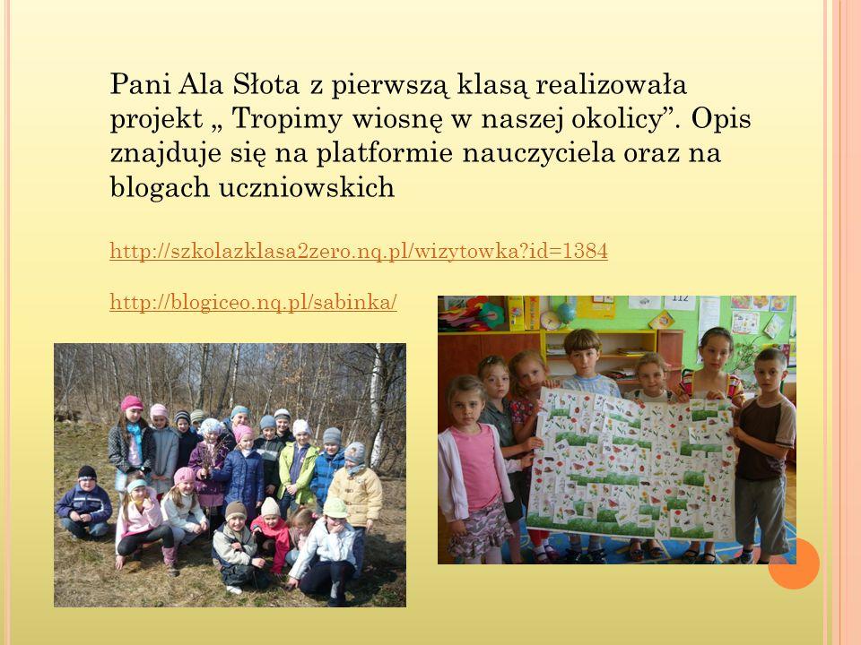 """Pani Ala Słota z pierwszą klasą realizowała projekt """" Tropimy wiosnę w naszej okolicy . Opis znajduje się na platformie nauczyciela oraz na blogach uczniowskich"""