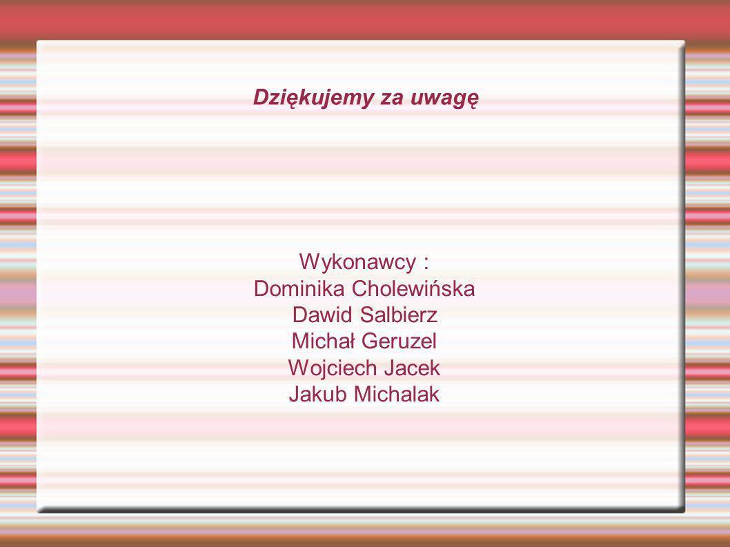 Dziękujemy za uwagę Wykonawcy : Dominika Cholewińska. Dawid Salbierz. Michał Geruzel. Wojciech Jacek.
