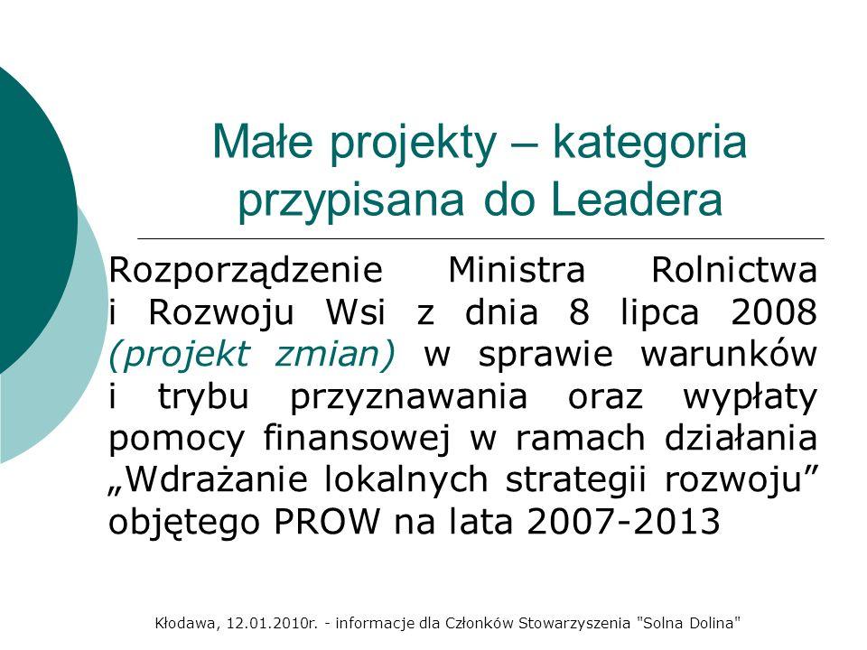 Małe projekty – kategoria przypisana do Leadera