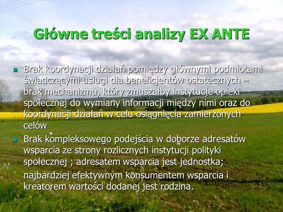 Główne treści analizy EX ANTE