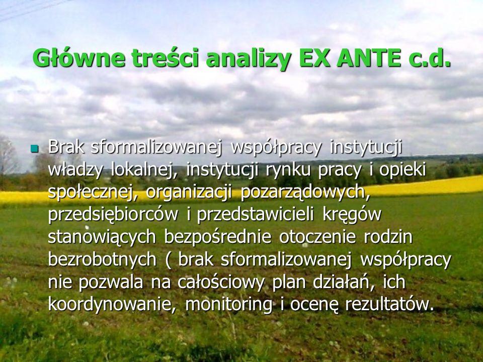 Główne treści analizy EX ANTE c.d.