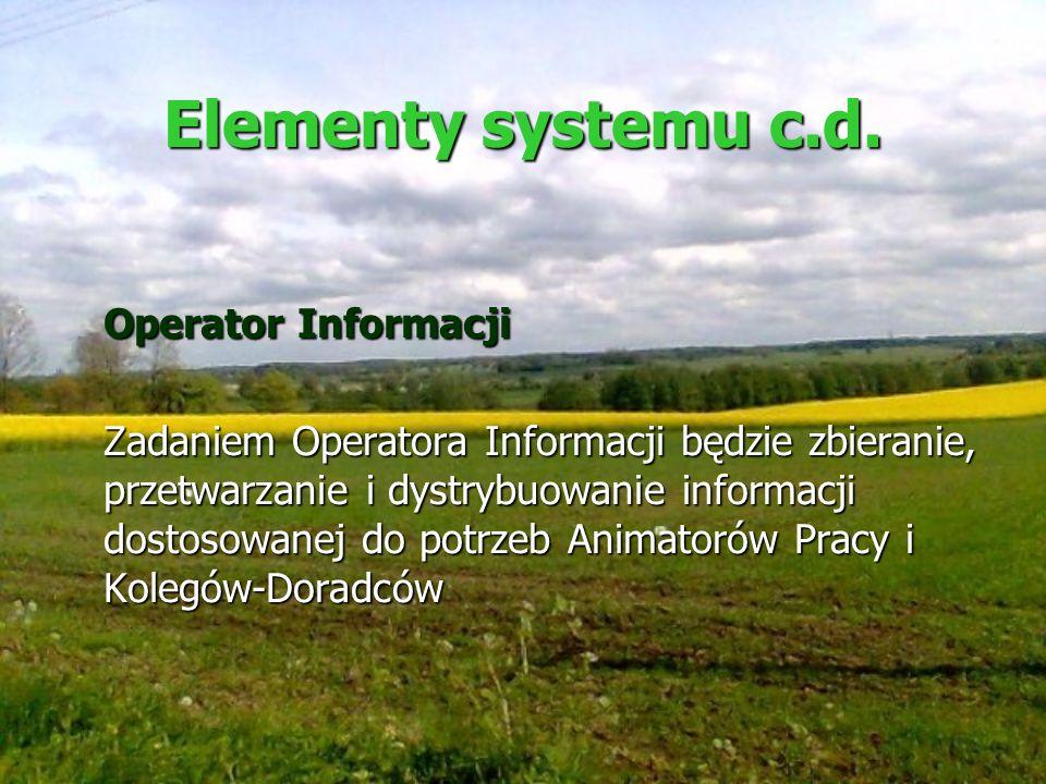 Elementy systemu c.d. Operator Informacji