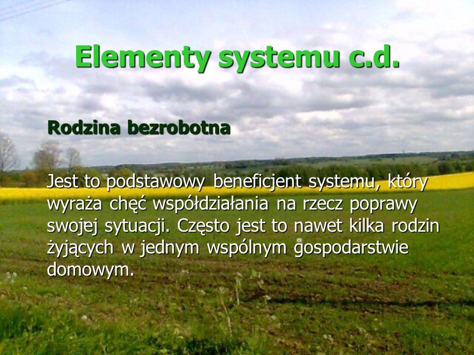 Elementy systemu c.d. Rodzina bezrobotna