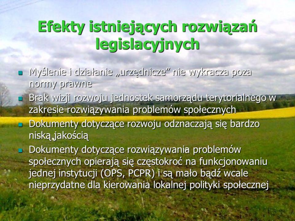 Efekty istniejących rozwiązań legislacyjnych