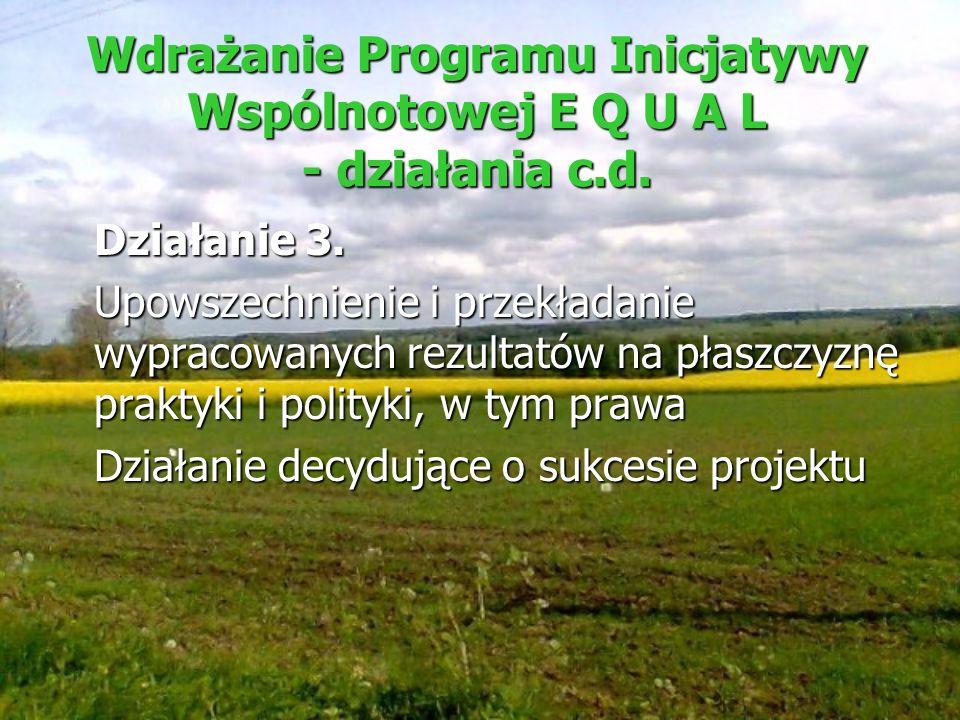 Wdrażanie Programu Inicjatywy Wspólnotowej E Q U A L - działania c.d.