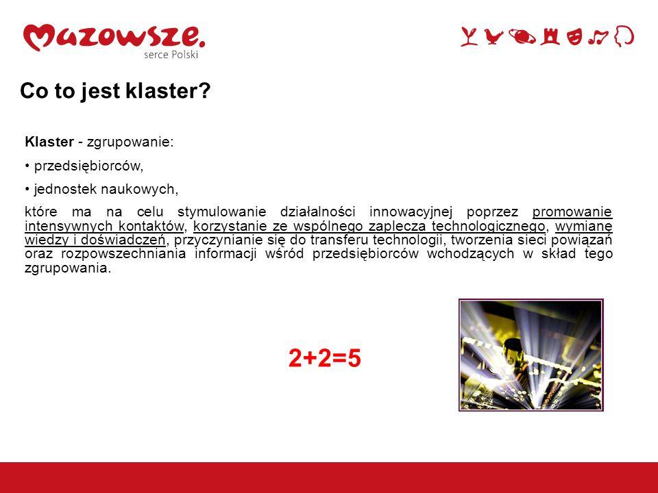 2+2=5 Co to jest klaster Klaster - zgrupowanie: przedsiębiorców,