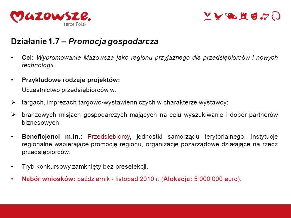 Działanie 1.7 – Promocja gospodarcza