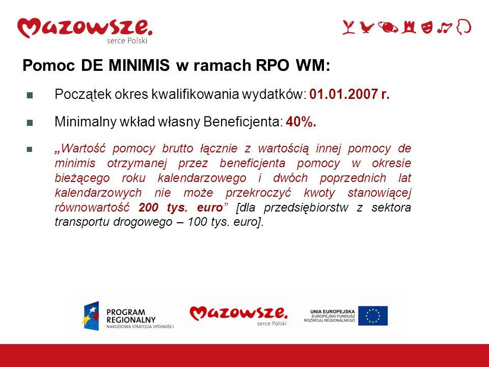 Pomoc DE MINIMIS w ramach RPO WM: