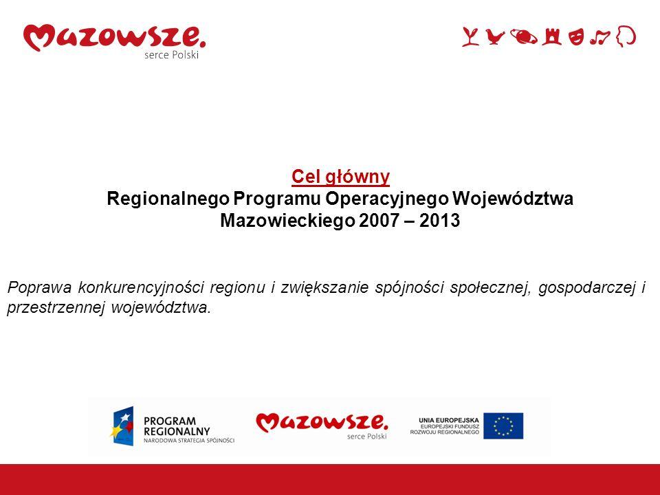 Cel główny Regionalnego Programu Operacyjnego Województwa Mazowieckiego 2007 – 2013