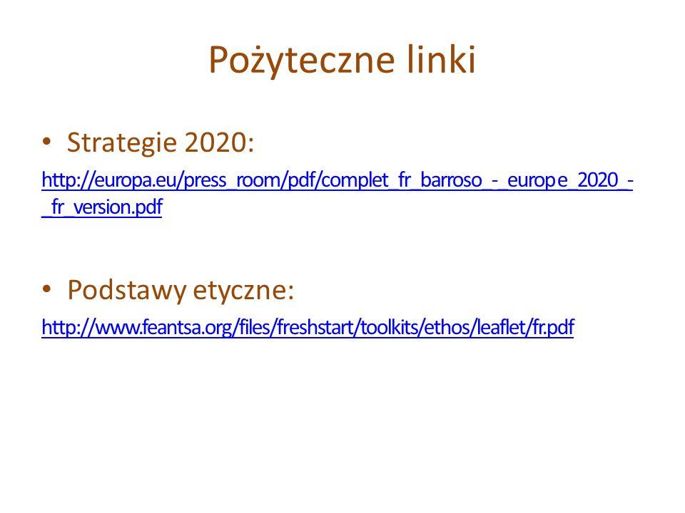 Pożyteczne linki Strategie 2020: Podstawy etyczne: