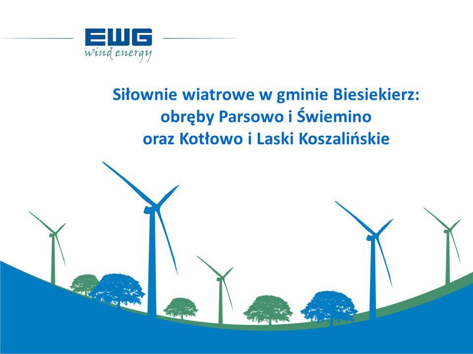 Siłownie wiatrowe w gminie Biesiekierz: obręby Parsowo i Świemino oraz Kotłowo i Laski Koszalińskie
