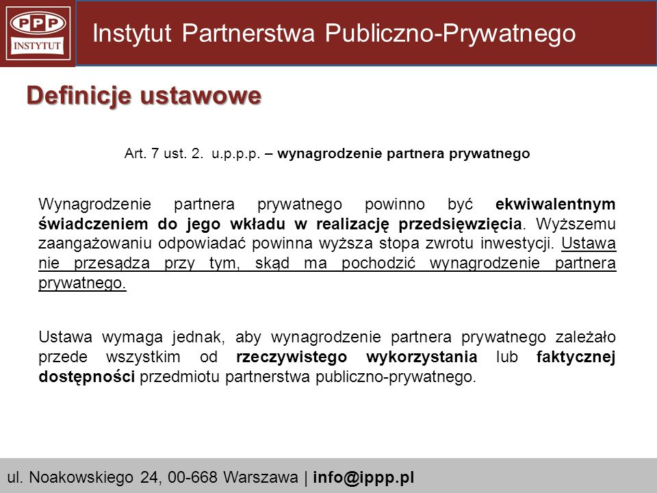 Art. 7 ust. 2. u.p.p.p. – wynagrodzenie partnera prywatnego