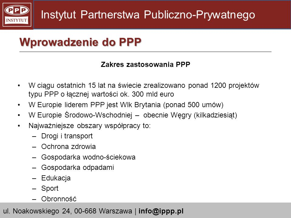Zakres zastosowania PPP