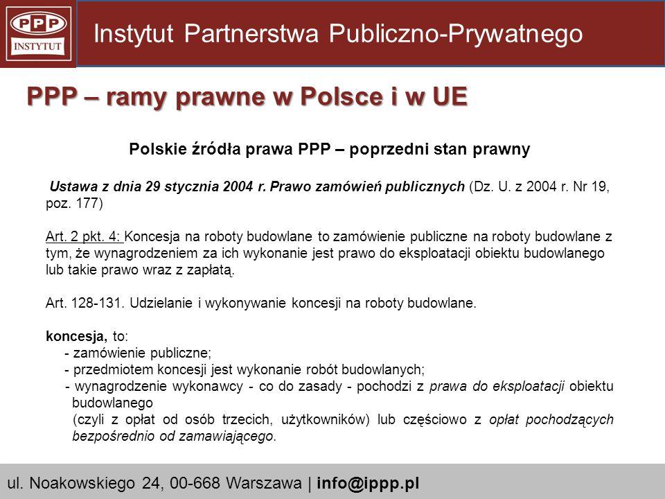 Polskie źródła prawa PPP – poprzedni stan prawny