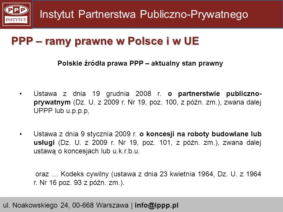 Polskie źródła prawa PPP – aktualny stan prawny
