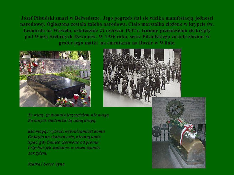Józef Piłsudski zmarł w Belwederze