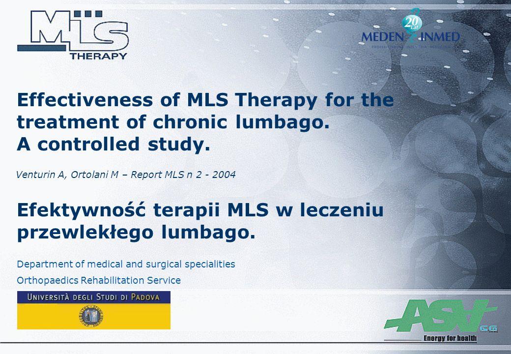 Efektywność terapii MLS w leczeniu przewlekłego lumbago.