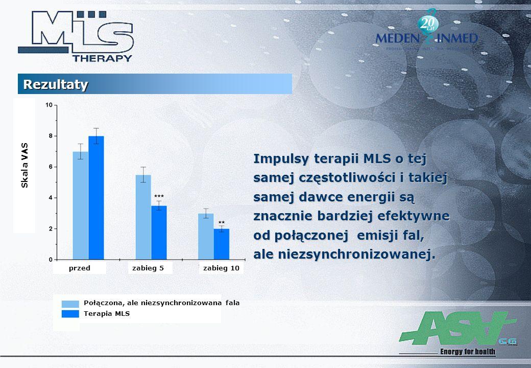 Impulsy terapii MLS o tej samej częstotliwości i takiej