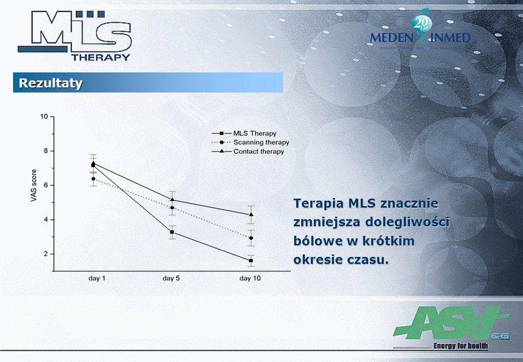 Rezultaty Terapia MLS znacznie zmniejsza dolegliwości bólowe w krótkim okresie czasu.