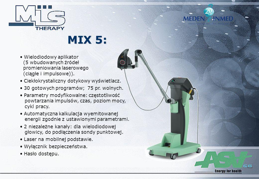MIX 5: Wielodiodowy aplikator (5 wbudowanych źródeł promieniowania laserowego (ciągłe i impulsowe)).