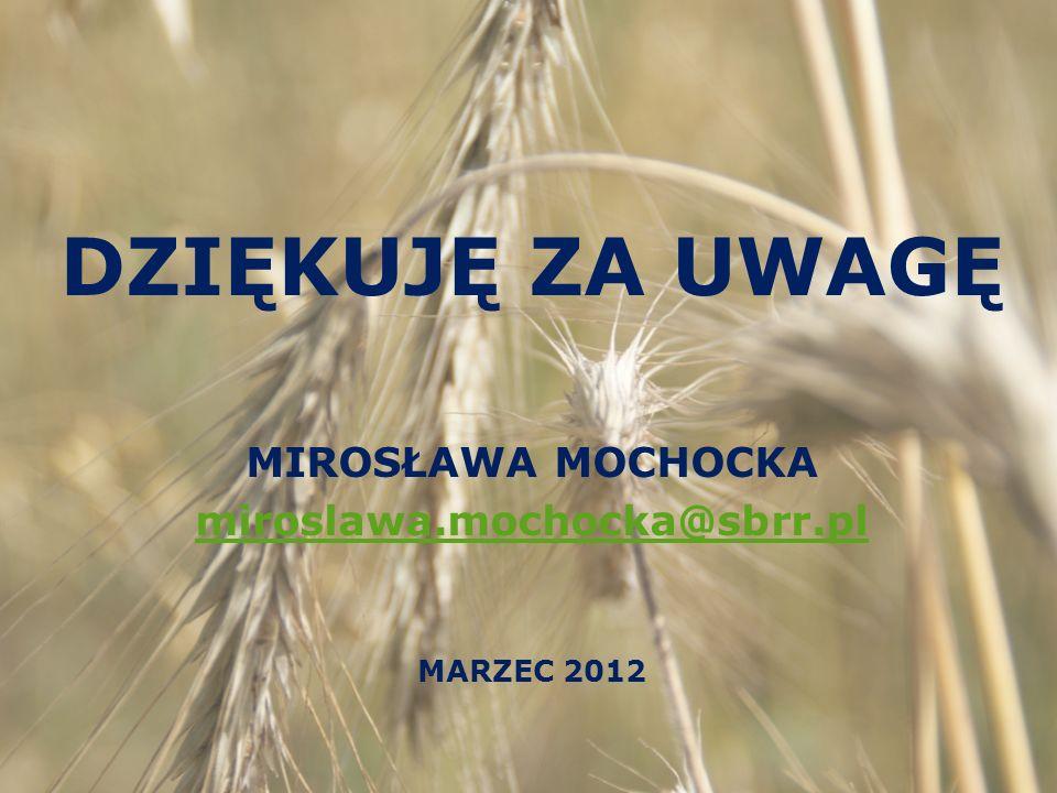 DZIĘKUJĘ ZA UWAGĘ MIROSŁAWA MOCHOCKA miroslawa.mochocka@sbrr.pl