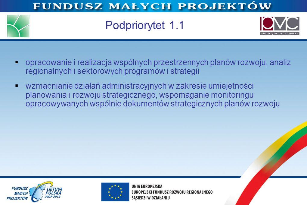 Podpriorytet 1.1opracowanie i realizacja wspólnych przestrzennych planów rozwoju, analiz regionalnych i sektorowych programów i strategii.