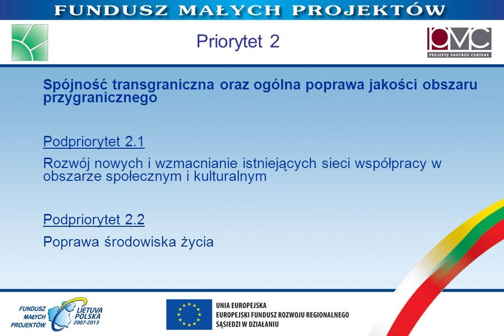 Priorytet 2 Spójność transgraniczna oraz ogólna poprawa jakości obszaru przygranicznego. Podpriorytet 2.1.