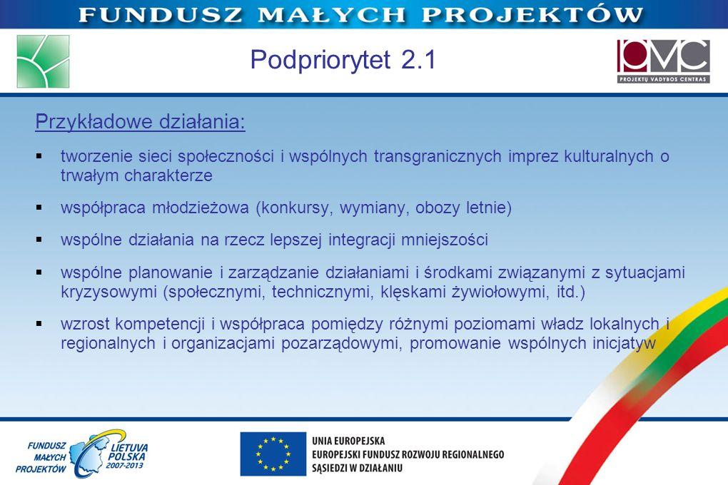 Podpriorytet 2.1 Przykładowe działania:
