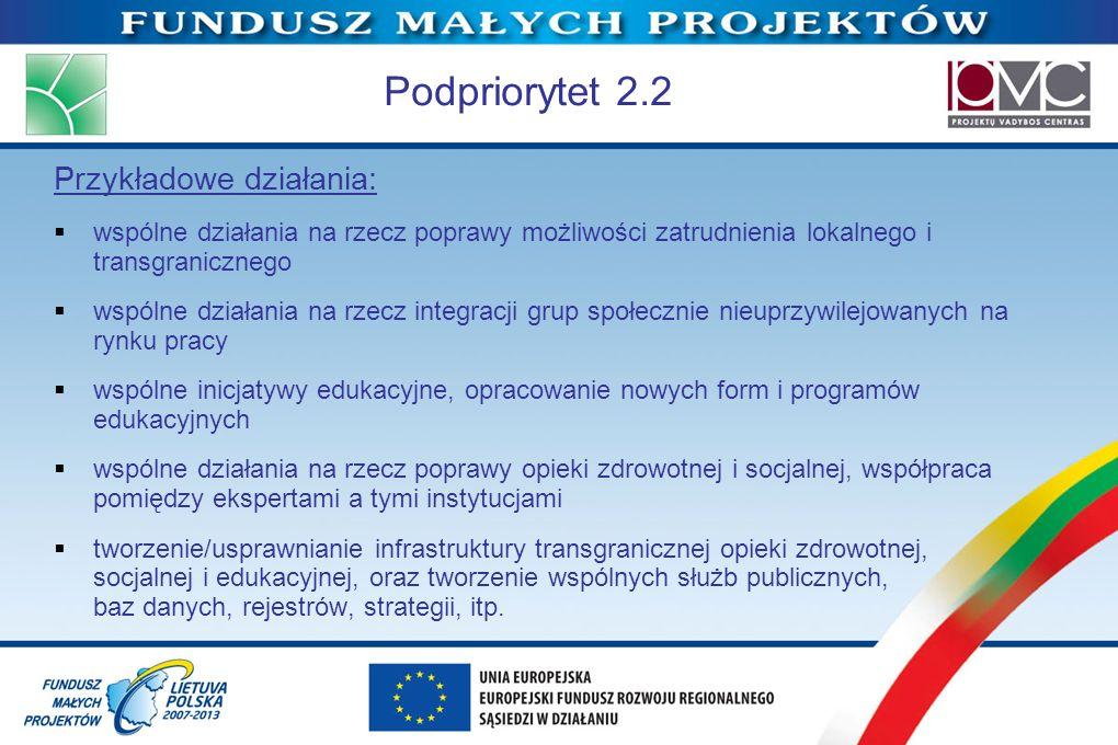 Podpriorytet 2.2 Przykładowe działania: