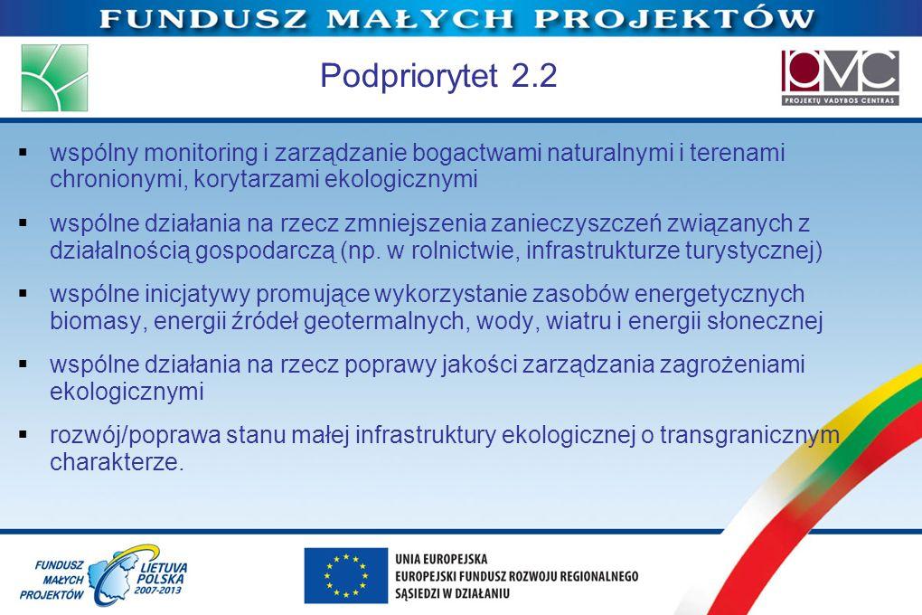 Podpriorytet 2.2 wspólny monitoring i zarządzanie bogactwami naturalnymi i terenami chronionymi, korytarzami ekologicznymi.